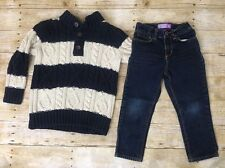 Gap Old Navy Outfit 4T Striped Navy Blue Chunky Cable Knit Sweater Skinny Jeans