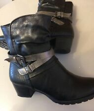 LADIES Silver BLACK Ankle Boots Size 3
