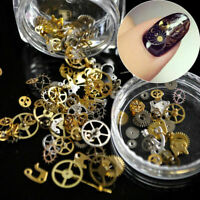 UK 200pcs 3D Nail Art DIY Steampunk Geal Decoration Alloy Pearl Jewelry Wheel
