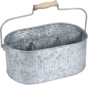 Farmhouse Utensil Caddy Carry-All Serveware 13.5x10x5.5 Inches, Antique Gray