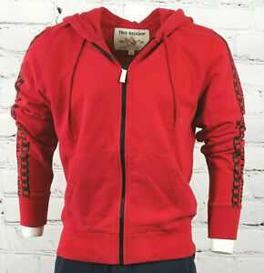 Mens True Religion Zip Hoodie Red Black Classic Fit Hooded Jacket size S - 3XL