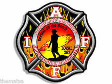 "LONG BEACH NEW YORK IAFF FIRE 4"" BUMPER HELMET LAPTOP DECAL STICKER USA MADE"