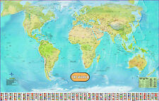 Large Huge laminated WORLD MAP poster wall chart  flags educational - A1 Size