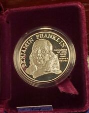 1992 USA BEN FRANKLIN FIRE FIGHTERS ONE OUNCE .999 SILVER PROOF MEDAL
