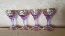 Antique Set Bohemian Stem Glasses Amethyst w/Lavish Gold & HandPainted Flowers