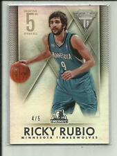 RICKY RUBIO 2013-14 TITANIUM DRAFTED 5TH OVERALL RC REFRACTOR #180 /5