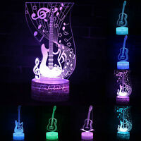 3D Touch LED illusion Guitar USB 7Color Change Table Desk Lights Lamp Bedroom US