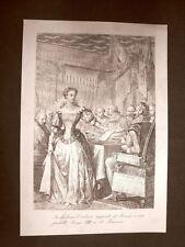 Cristina di Borbone-Francia Luigi XIII Incisione 1881 Dinastia Savoia Oscar Pio