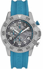 NEW NAUTICA SILVER TONE,TURQUOISE BLUE SILICONE BAND,CHRONOGRAPH WATCH-NAD16511G