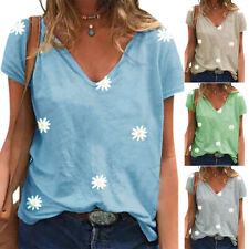Womens V Neck Daisy Printed T-shirt Short Sleeve Tunic Tops Ladies Blouse Top