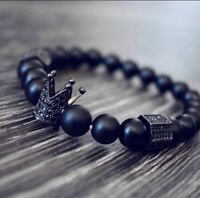 Luxury Crown Natural Stone Matte Black Charm Men's Copper Bead Fashion Bracelets