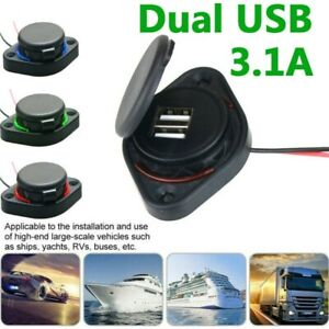 Dual 3.1A 2-USB Port Car Charger Power Adapter LED Socket Panel for Car Boat UK