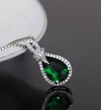 Noble Jewel Emerald 925 Sterling Silver Knot Pendant Necklace