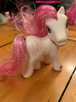 My Little Pony 2002 Star Swirl White Body Two Tone Pink Glitter Hair Stars Heart