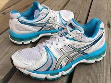 Women's Asics Gel Kayano 18 Athletic Running Shoes Sz 8 White Aqua Blue T250N