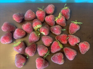 """Lot of 28 Sugared Beaded Frosted Artificial Faux Fruit Red Strawberries 2"""" Prop"""