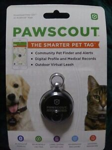 Pawscout The Smarter Pet Tag Community Pet Finder and Alerts Bluetooth Black NEW