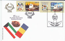 Romania,Kuwait,2008,joint issue,FDC,Kuwait Towers,gold,limited edition,flag,ship