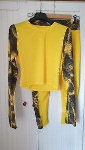 Asos yellow and black gym set size 10