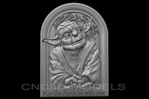 3D Model STL for CNC Router Engraver Carving Artcam Aspire Star Wars Yoda b453