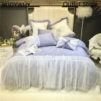 Luxury Embroidery 60S Egyptian Cotton Princess Bedding Set Lace Cover Bed Sheet