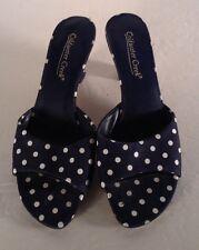 "Coldwater Creek Blue Fabric W/polka Dot Leather Slip On,Peep Toe  2.5"" Heel, 7 M"