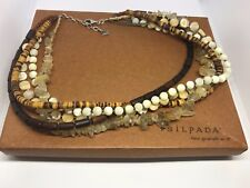 Silpada Sterling Silver, Wood, Rutilated Quartz, Pearl & Tiger Coconut - N1507