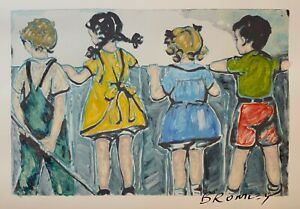"""DAVID BROMLEY Children Series """"Over The Fence"""" Mixed Media 57cm x 84cm"""