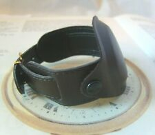 Military Wrist Watch Strap 19mm Protective Cover Brown Leather & Gilt Buckle