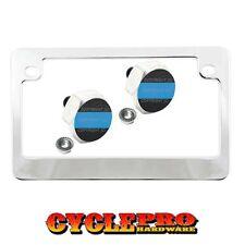Chrome Metal Motorcycle License Plate Frame Hex Tag Bolt Kit - BLUE LINE