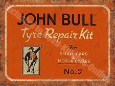 John Bull Motor Cycle & Car Tyre Repair Old Vintage Garage Small Metal/Tin Sign