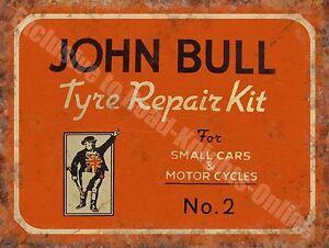 John Bull Motor Cycle & Car Tyre Repair Old Vintage Garage Small Metal Tin Sign