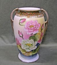 Vintage Estate Large hand painted Floral Vase with Golden Ornate Accents LOOK!