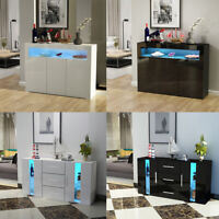 Modern Sideboard LED Cabinet Cupboard High Gloss 2 3 Doors Storage White Black