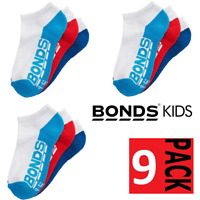 9 x BONDS KIDS SOCKS Boys Girls Low Cut Sports White Red Blue Navy 9 Pairs