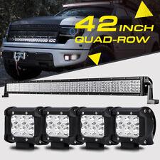 "42"" 2880W Quad-Row +4X 4"" Pods Cube CREE LED Light Bar Offroad Bumper Truck SUV"