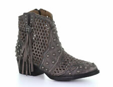 Corral Black Studded Cut-Out Ankle Boots Q0138