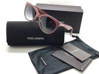 DOLCE & GABBANA DG 4192 2739/8G Red Glitter Gray Grad Cateye Sunglasses