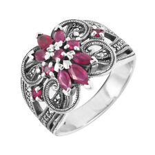 Esse Marcasite Sterling Silver Vintage Floral Red Ruby Statement Ring - Size P