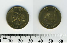 Hong Kong 1997 - 50 Cents Brass Plated Steel Coin - Bauhinia Flower