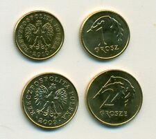 2 UNCIRCULATED COINS from POLAND - 2010 1 GROSZY & 2009 2 GROSZY
