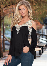 UK Summer Womens Loose Casual Tops Sexy Lace T-Shirt Long Sleeve Blouse UK 6-24