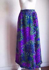 Vintage 70s ALICE California Hippie Electric Floral Flounce Maxi HOSTESS Skirt S
