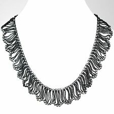 Collier Damen Kette Kurze Halskette Modeschmuck Perlen Strass Schwarz