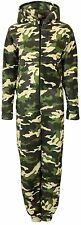 Unisex Mens Ladies Womens Hooded Zip-up Fleece Bodysuit Army Camouflage KK07