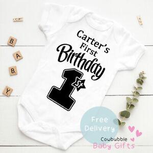 Personalised My First Birthday Baby Vest Grow Christening Bodysuit Baby 1st Bday