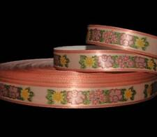 "5 Yards Vintage Blush Peach Roses Flowers Gear Satin Ribbon 5/8""W"