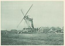 G0172 Hollande - Edam - Moulin à vent et ferme - Stampa d'epoca - 1923 Old print