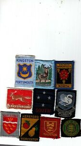 Boy Scout used COUNTY & DISTRICT Badges x 10 inc ribbon STRATFORD
