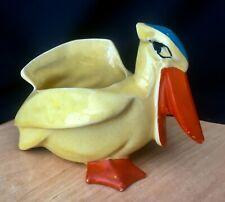 Vintage Nelson McCoy Ceramic Pelican Planter - Yellow/Orange/Blue
